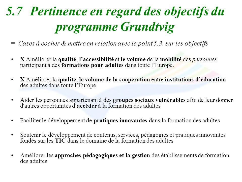5.7Pertinence en regard des objectifs du programme Grundtvig = Cases à cocher & mettre en relation avec le point 5.3. sur les objectifs X Améliorer la