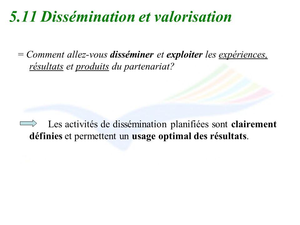 5.11 Dissémination et valorisation = Comment allez-vous disséminer et exploiter les expériences, résultats et produits du partenariat? Les activités d