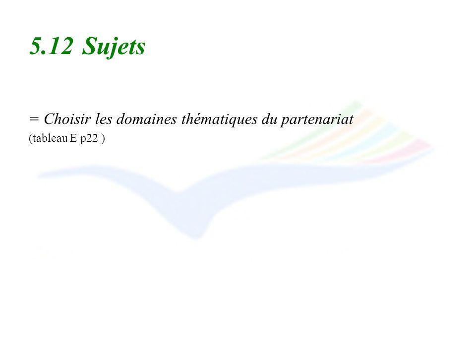 5.12 Sujets = Choisir les domaines thématiques du partenariat (tableau E p22 )