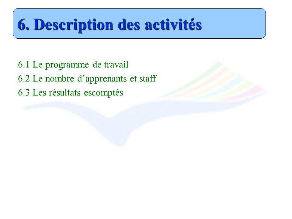 6.1 Le programme de travail 6.2 Le nombre dapprenants et staff 6.3 Les résultats escomptés 6. Description des activités