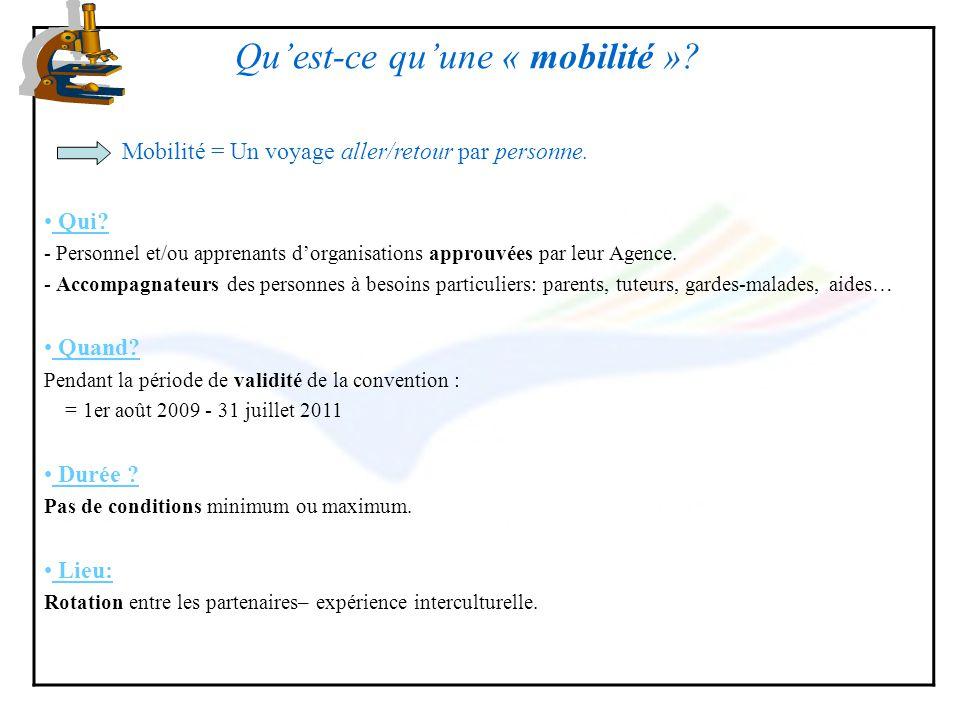 Quest-ce quune « mobilité »? Mobilité = Un voyage aller/retour par personne. Qui? - Personnel et/ou apprenants dorganisations approuvées par leur Agen