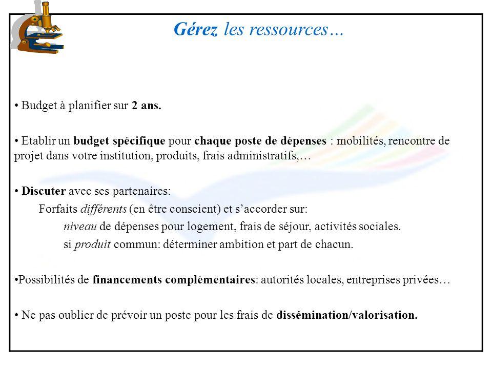 Gérez les ressources… Budget à planifier sur 2 ans. Etablir un budget spécifique pour chaque poste de dépenses : mobilités, rencontre de projet dans v