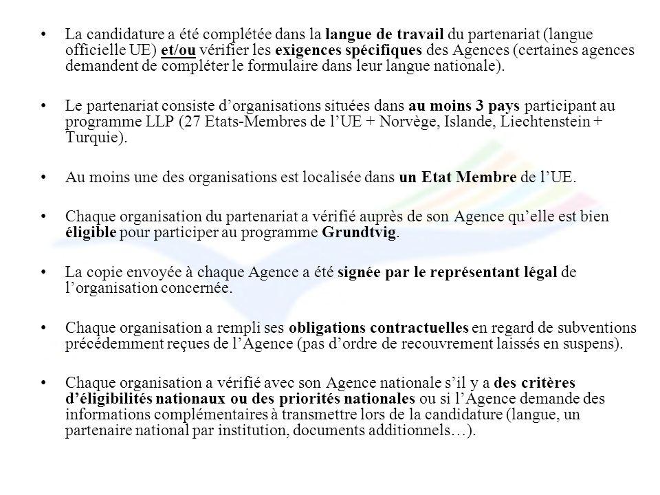 La candidature a été complétée dans la langue de travail du partenariat (langue officielle UE) et/ou vérifier les exigences spécifiques des Agences (c