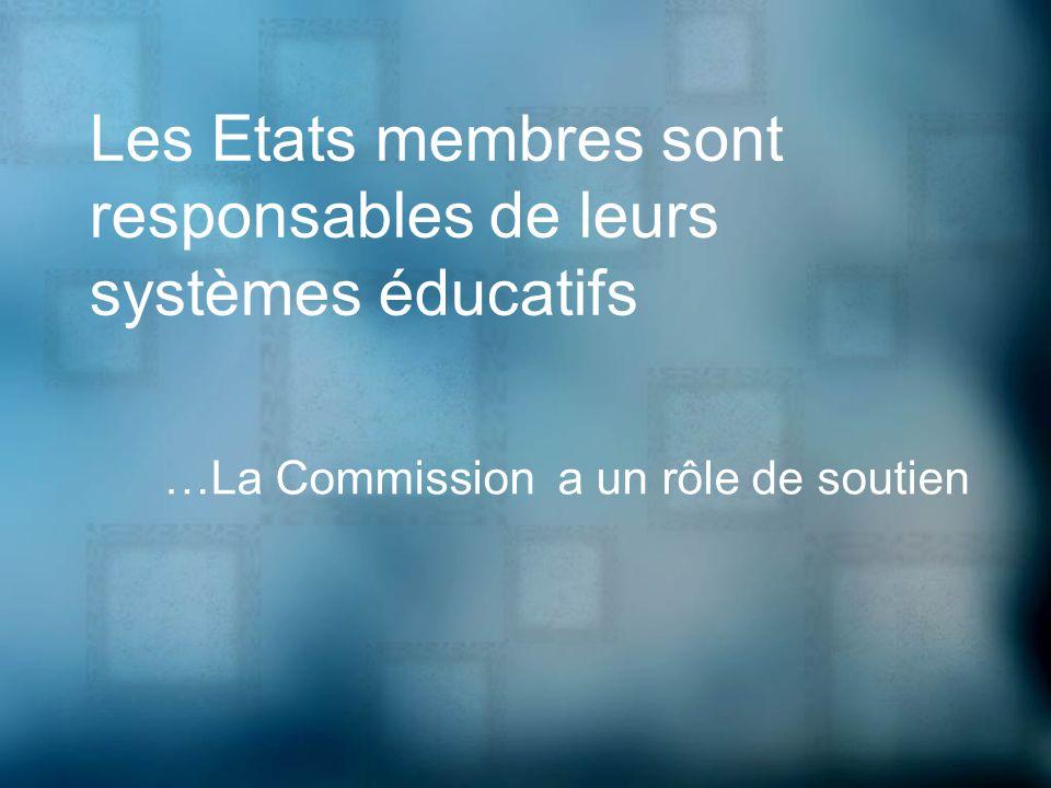 Les Etats membres sont responsables de leurs systèmes éducatifs …La Commission a un rôle de soutien