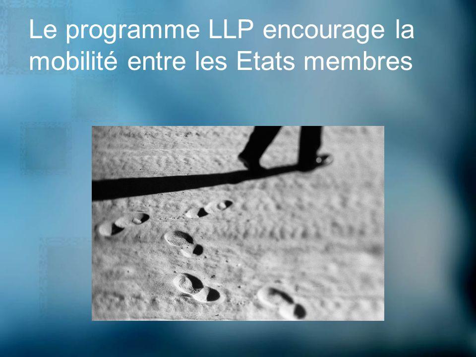 Le Programme LLP Durée: Janvier 2007 – Décembre 2013 Budget: 6.9 milliards deuros Pays participants: 27 Etats membres de lUE depuis 2007 Le programme est aussi ouvert à: Norvège, Islande, Liechtenstein Turquie (Pays des Balkans ouest) (Suisse)
