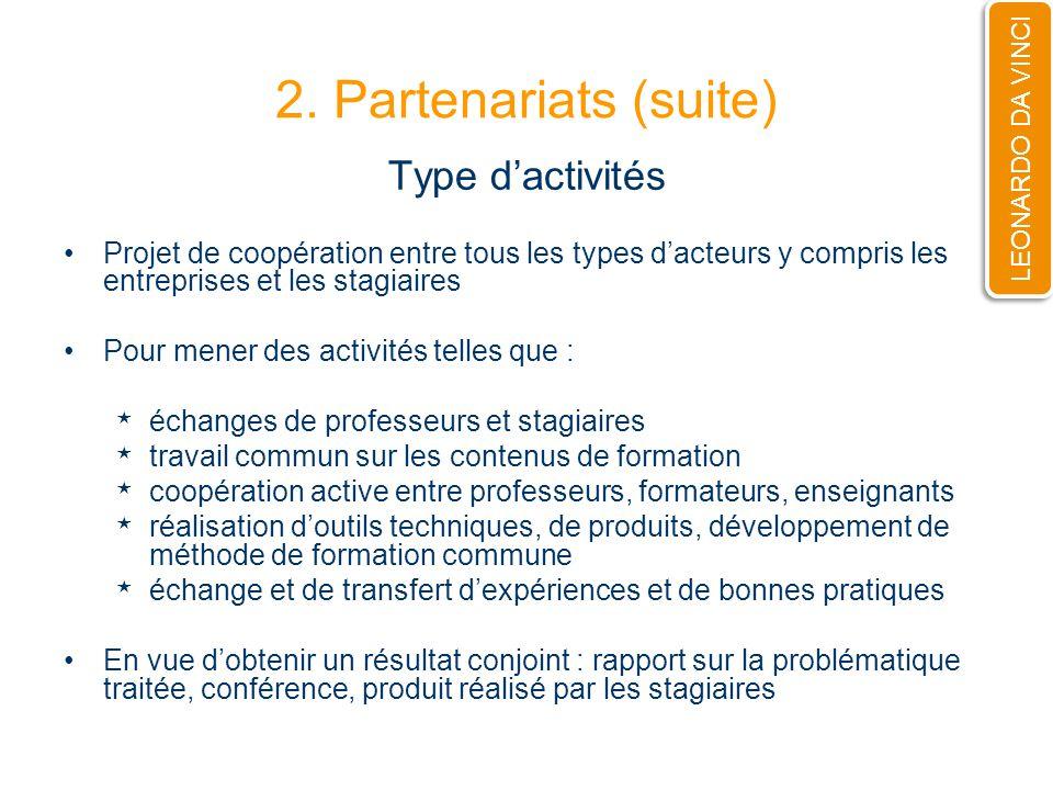 2. Partenariats (suite) Type dactivités Projet de coopération entre tous les types dacteurs y compris les entreprises et les stagiaires Pour mener des
