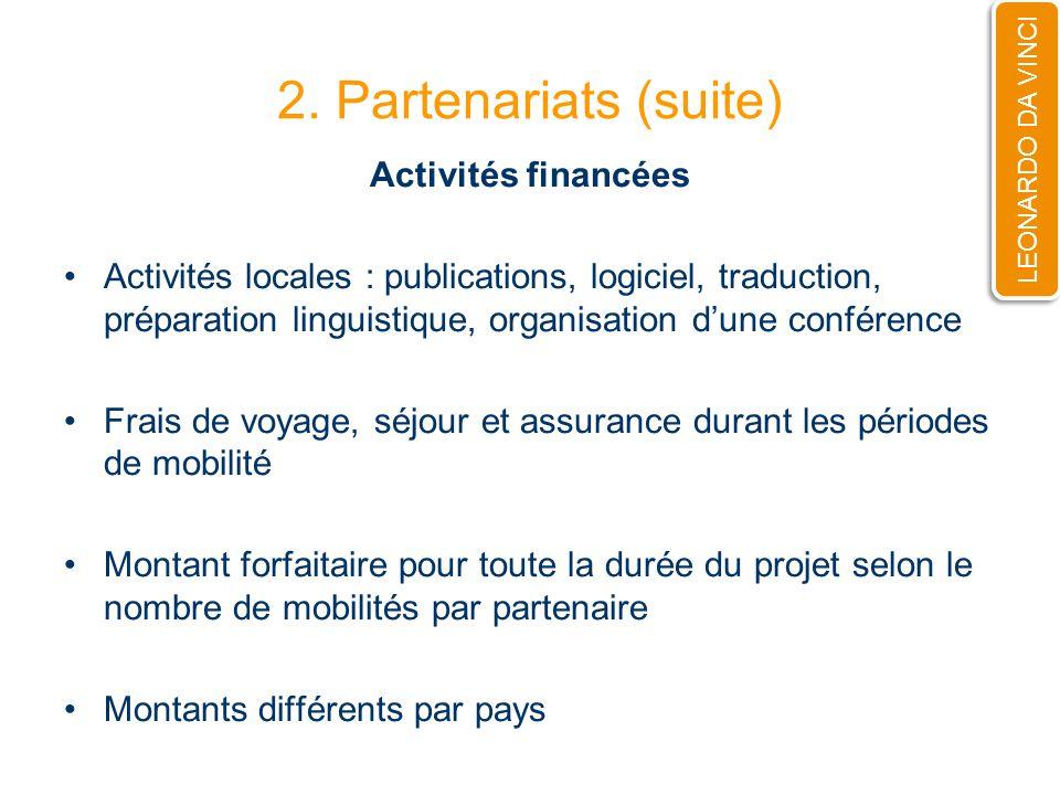 2. Partenariats (suite) Activités financées Activités locales : publications, logiciel, traduction, préparation linguistique, organisation dune confér