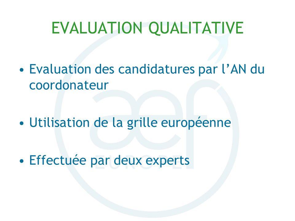 Evaluation des candidatures par lAN du coordonateur Utilisation de la grille européenne Effectuée par deux experts EVALUATION QUALITATIVE