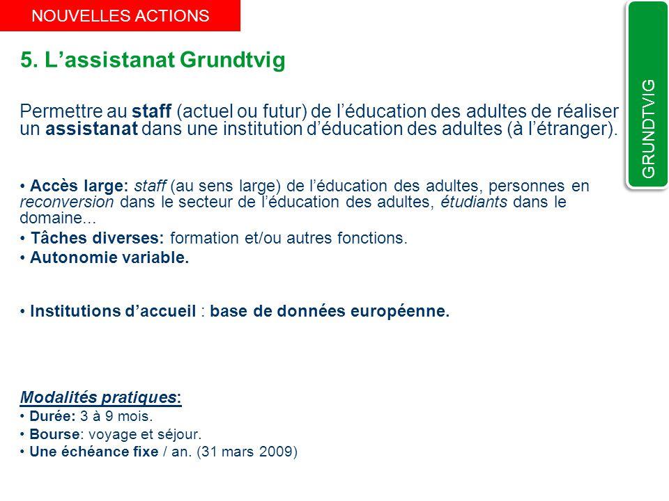 5. Lassistanat Grundtvig Permettre au staff (actuel ou futur) de léducation des adultes de réaliser un assistanat dans une institution déducation des