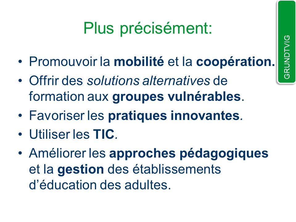 Plus précisément: Promouvoir la mobilité et la coopération.