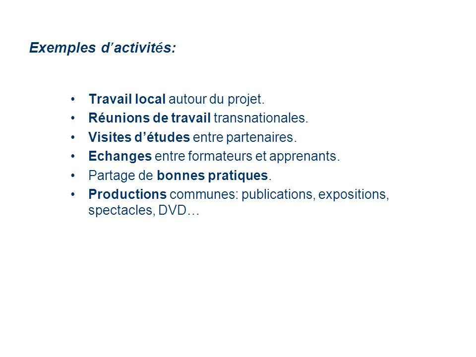 Exemples d activit é s: Travail local autour du projet.