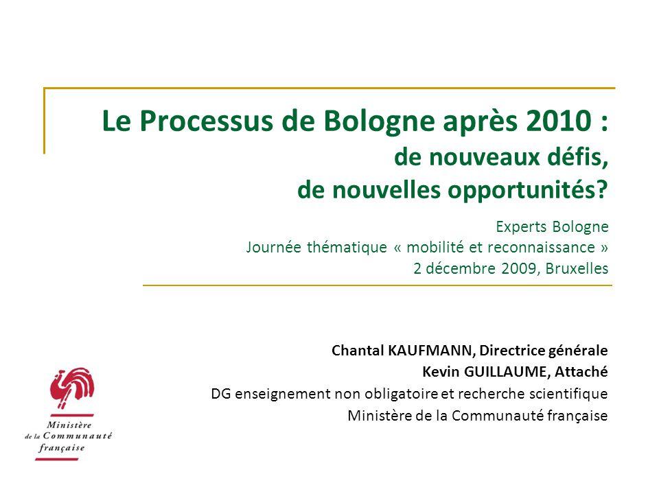 Le Processus de Bologne après 2010 : de nouveaux défis, de nouvelles opportunités? Experts Bologne Journée thématique « mobilité et reconnaissance » 2