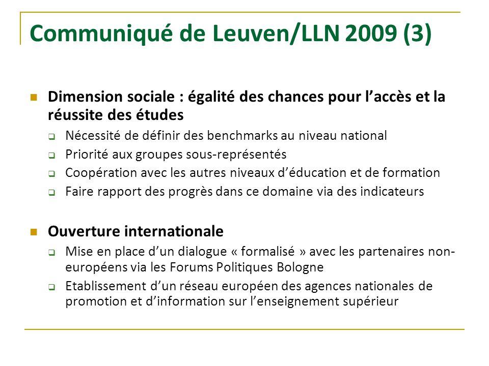 Communiqué de Leuven/LLN 2009 (3) Dimension sociale : égalité des chances pour laccès et la réussite des études Nécessité de définir des benchmarks au
