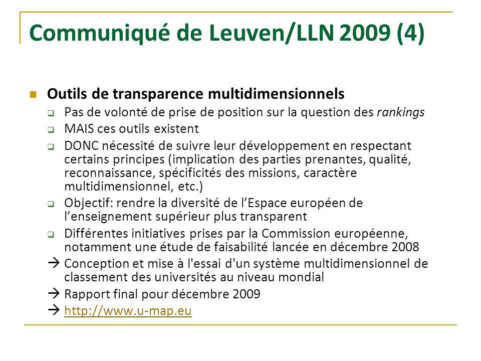 Communiqué de Leuven/LLN 2009 (4) Outils de transparence multidimensionnels Pas de volonté de prise de position sur la question des rankings MAIS ces