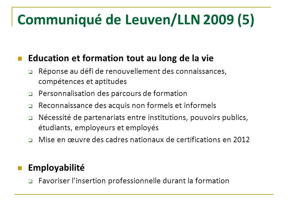 Communiqué de Leuven/LLN 2009 (5) Education et formation tout au long de la vie Réponse au défi de renouvellement des connaissances, compétences et ap