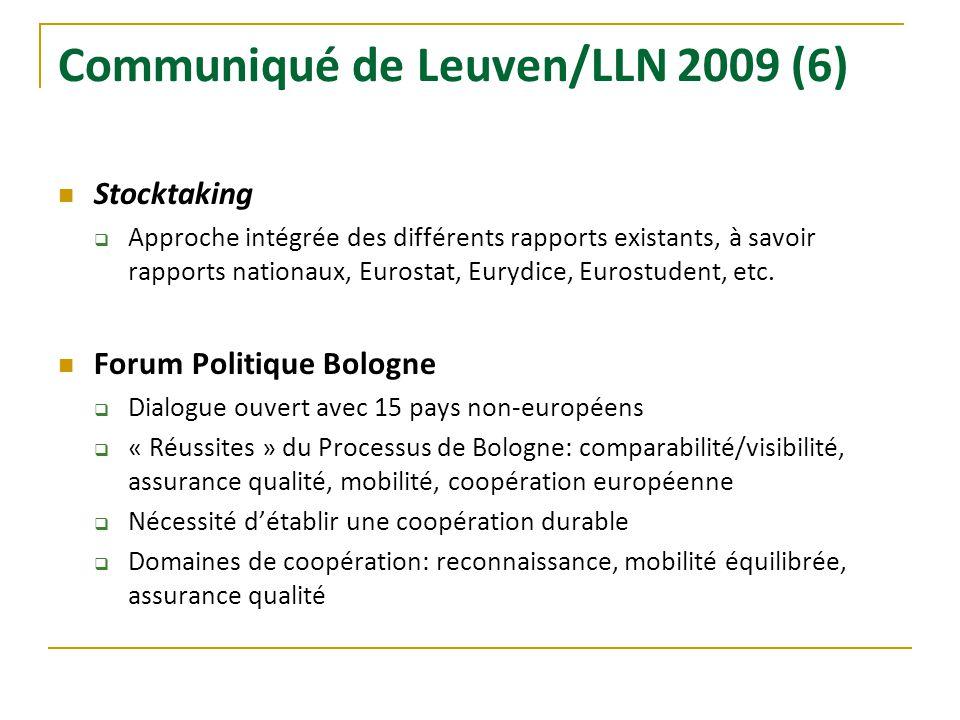 Communiqué de Leuven/LLN 2009 (6) Stocktaking Approche intégrée des différents rapports existants, à savoir rapports nationaux, Eurostat, Eurydice, Eu