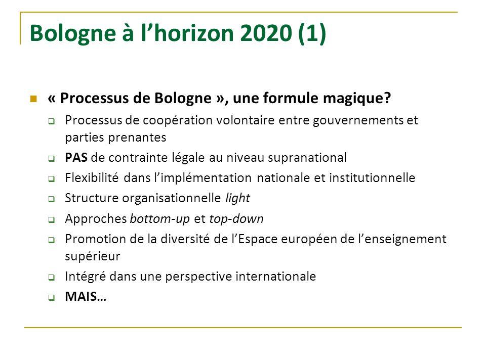 Bologne à lhorizon 2020 (1) « Processus de Bologne », une formule magique? Processus de coopération volontaire entre gouvernements et parties prenante