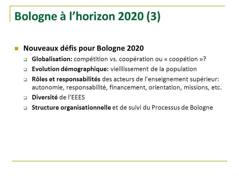 Bologne à lhorizon 2020 (3) Nouveaux défis pour Bologne 2020 Globalisation: compétition vs. coopération ou « coopétion »? Evolution démographique: vie
