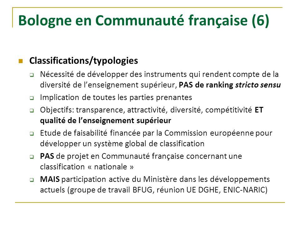 Bologne en Communauté française (6) Classifications/typologies Nécessité de développer des instruments qui rendent compte de la diversité de lenseigne
