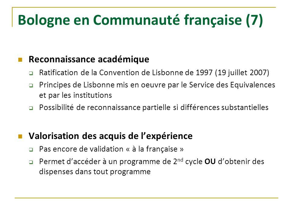 Bologne en Communauté française (7) Reconnaissance académique Ratification de la Convention de Lisbonne de 1997 (19 juillet 2007) Principes de Lisbonn