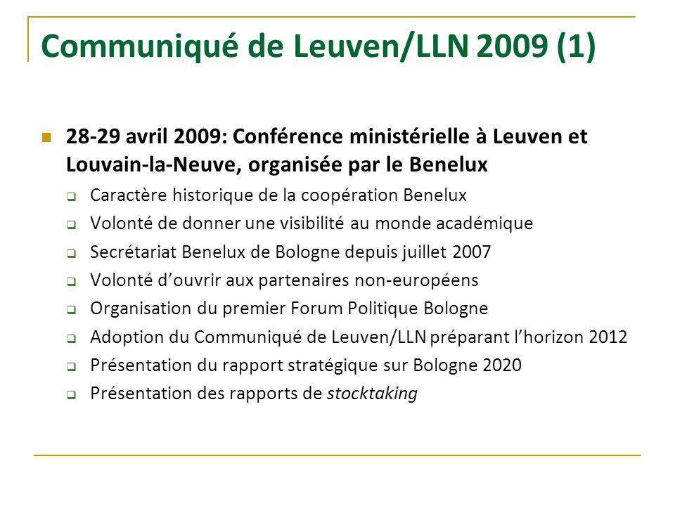 Communiqué de Leuven/LLN 2009 (1) 28-29 avril 2009: Conférence ministérielle à Leuven et Louvain-la-Neuve, organisée par le Benelux Caractère historiq