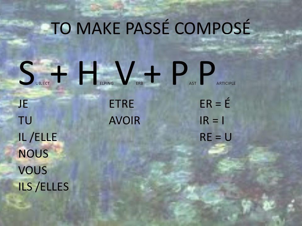 TO MAKE PASSÉ COMPOSÉ S UBJECT + H ELPING V ERB + P AST P ARTICIPLE JEETREER = É TUAVOIRIR = I IL/ELLERE = U NOUS VOUS ILS /ELLES