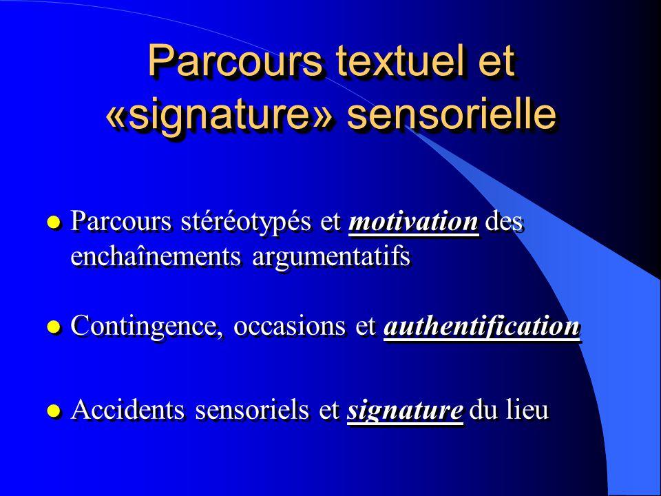 Parcours textuel et «signature» sensorielle l Parcours stéréotypés et motivation des enchaînements argumentatifs l Contingence, occasions et authentif
