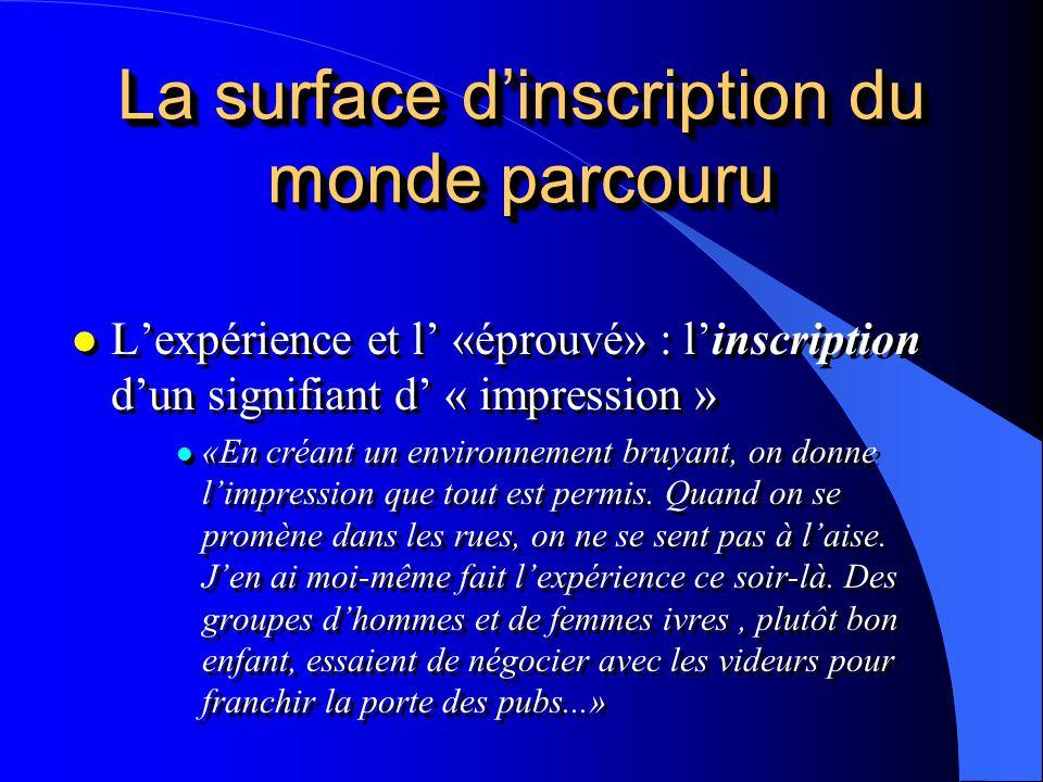 La surface dinscription du monde parcouru l Lexpérience et l «éprouvé» : linscription dun signifiant d « impression » l «En créant un environnement br