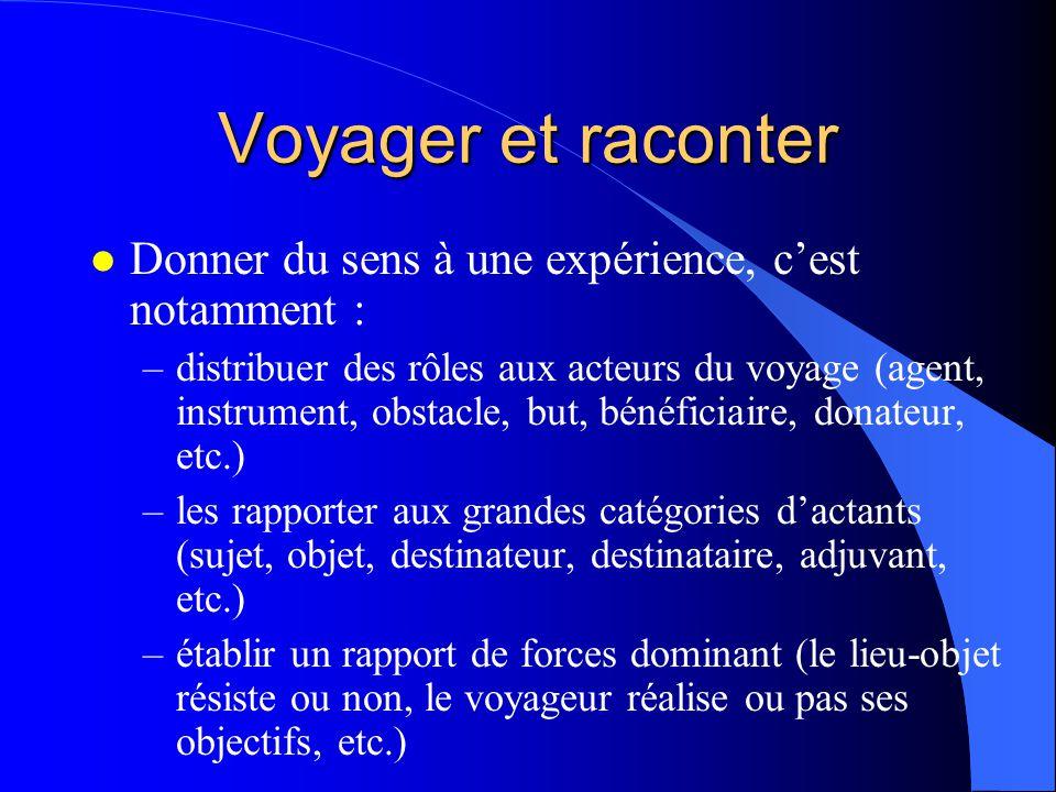 Voyager et raconter l Donner du sens à une expérience, cest notamment : –distribuer des rôles aux acteurs du voyage (agent, instrument, obstacle, but,