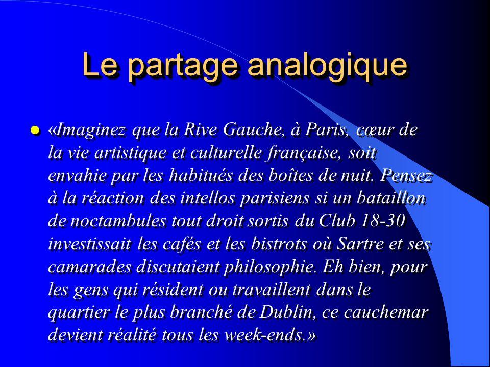 Le partage analogique l «Imaginez que la Rive Gauche, à Paris, cœur de la vie artistique et culturelle française, soit envahie par les habitués des bo