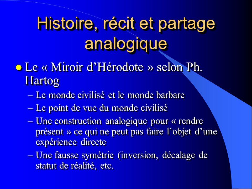 Histoire, récit et partage analogique l Le « Miroir dHérodote » selon Ph. Hartog –Le monde civilisé et le monde barbare –Le point de vue du monde civi