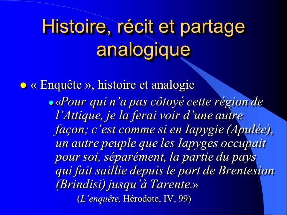 Histoire, récit et partage analogique l « Enquête », histoire et analogie l « Pour qui na pas côtoyé cette région de lAttique, je la ferai voir dune a
