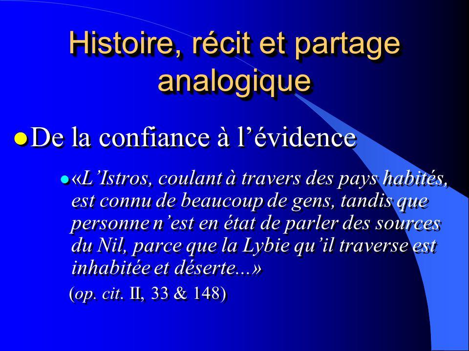 Histoire, récit et partage analogique l De la confiance à lévidence l «LIstros, coulant à travers des pays habités, est connu de beaucoup de gens, tan