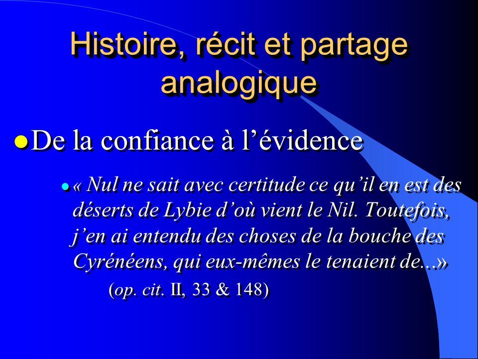 Histoire, récit et partage analogique l De la confiance à lévidence l « Nul ne sait avec certitude ce quil en est des déserts de Lybie doù vient le Ni