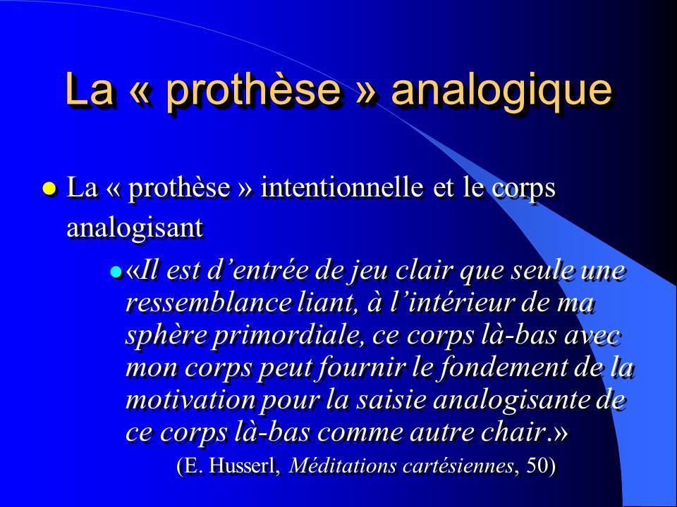 La « prothèse » analogique l La « prothèse » intentionnelle et le corps analogisant l «Il est dentrée de jeu clair que seule une ressemblance liant, à