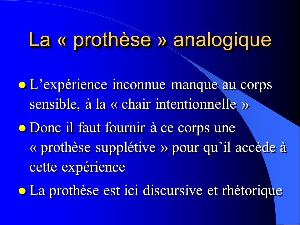 La « prothèse » analogique l Lexpérience inconnue manque au corps sensible, à la « chair intentionnelle » l Donc il faut fournir à ce corps une « prot