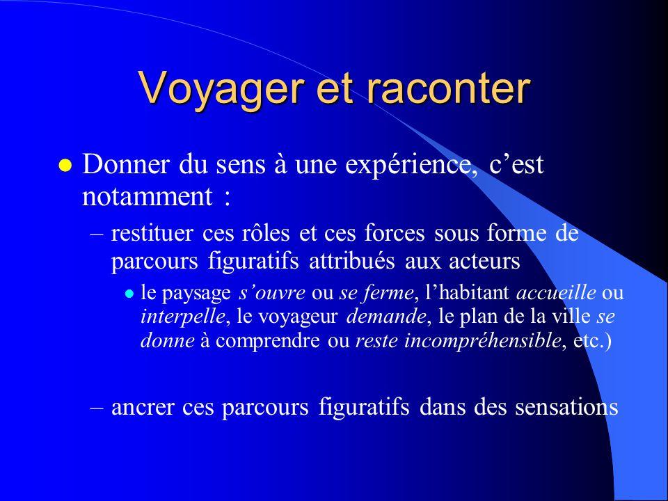 Voyager et raconter l Donner du sens à une expérience, cest notamment : –restituer ces rôles et ces forces sous forme de parcours figuratifs attribués