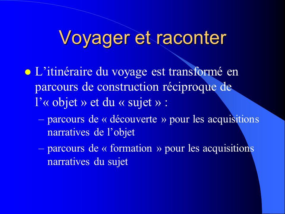 Voyager et raconter l Litinéraire du voyage est transformé en parcours de construction réciproque de l« objet » et du « sujet » : –parcours de « décou