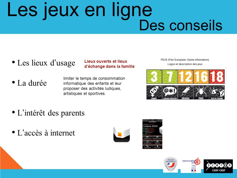 Les lieux d usage La durée L intérêt des parents L accès à internet limiter le temps de consommation informatique des enfants et leur proposer des activités ludiques, artistiques et sportives.