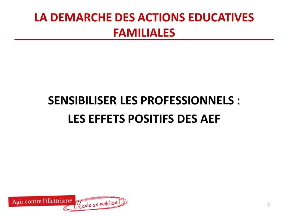 LA DEMARCHE DES ACTIONS EDUCATIVES FAMILIALES SENSIBILISER LES PROFESSIONNELS : LES EFFETS POSITIFS DES AEF 2