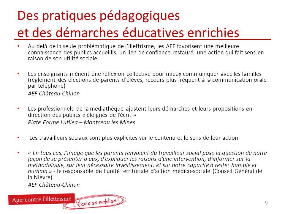 Des pratiques pédagogiques et des démarches éducatives enrichies Au-delà de la seule problématique de lillettrisme, les AEF favorisent une meilleure c