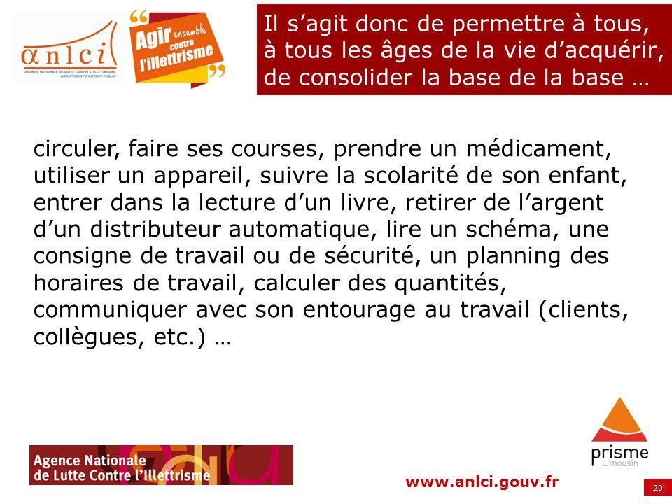 20 www.anlci.gouv.fr Il sagit donc de permettre à tous, à tous les âges de la vie dacquérir, de consolider la base de la base … circuler, faire ses co