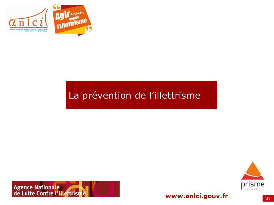 21 www.anlci.gouv.fr La prévention de lillettrisme