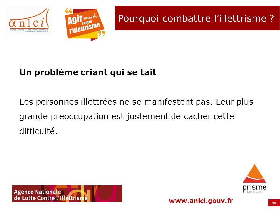 28 www.anlci.gouv.fr Un problème criant qui se tait Les personnes illettrées ne se manifestent pas. Leur plus grande préoccupation est justement de ca