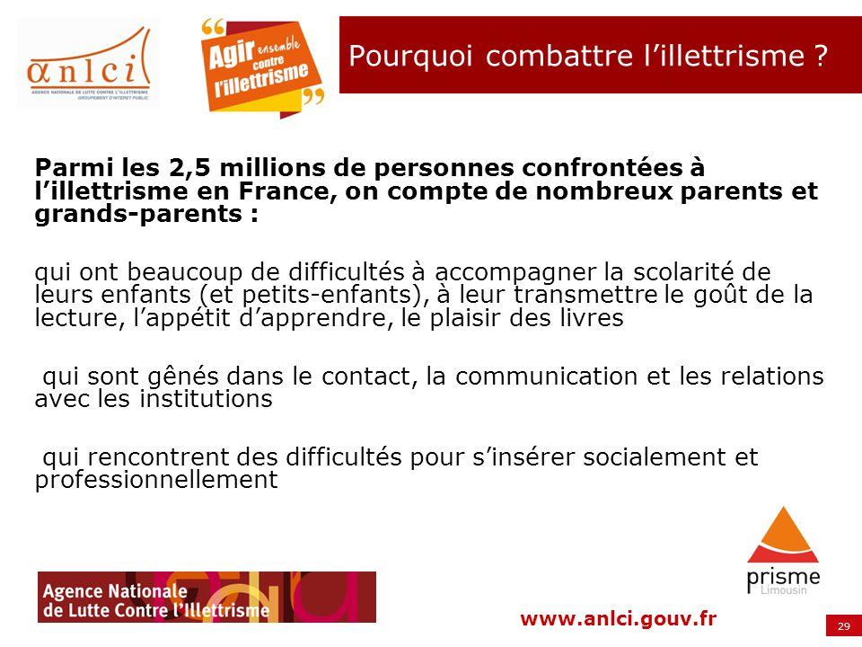 29 www.anlci.gouv.fr Parmi les 2,5 millions de personnes confrontées à lillettrisme en France, on compte de nombreux parents et grands-parents : qui o