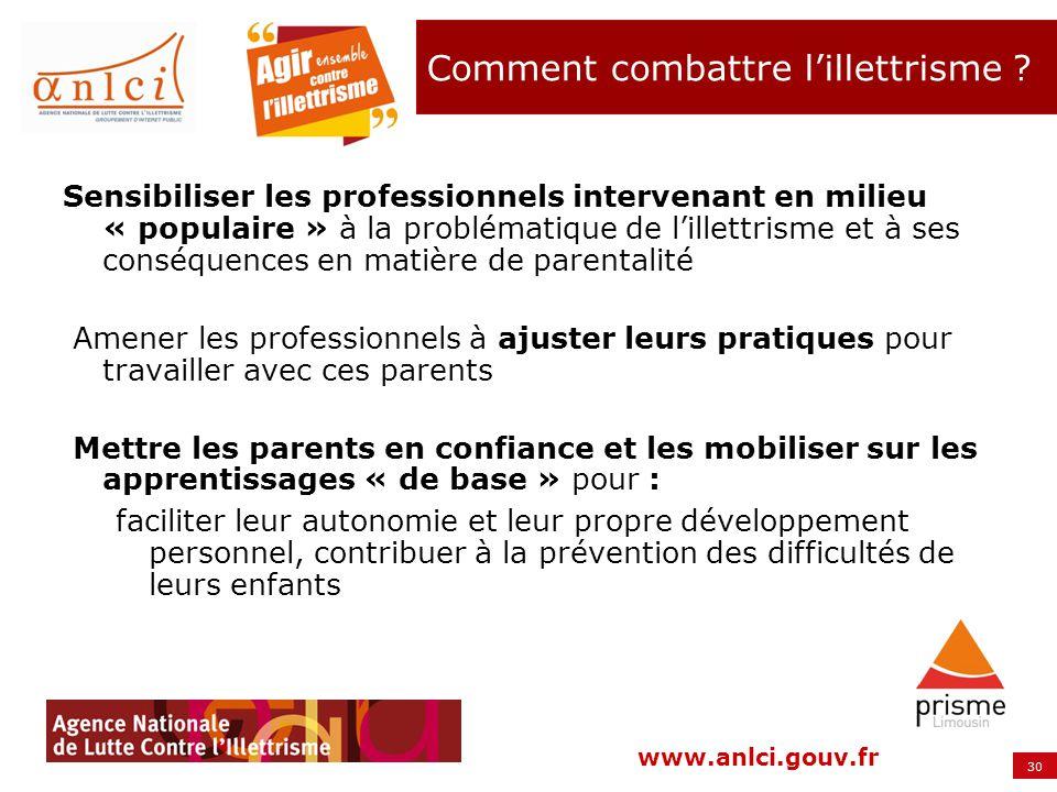 30 www.anlci.gouv.fr Comment combattre lillettrisme ? Sensibiliser les professionnels intervenant en milieu « populaire » à la problématique de lillet