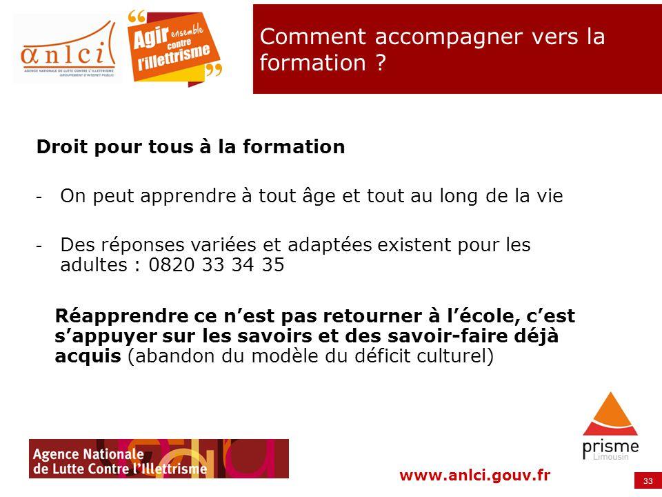 33 www.anlci.gouv.fr Comment accompagner vers la formation ? Droit pour tous à la formation - On peut apprendre à tout âge et tout au long de la vie -