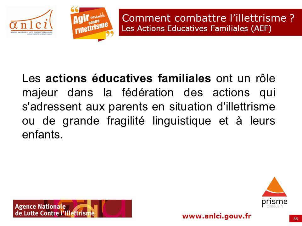 35 www.anlci.gouv.fr Comment combattre lillettrisme ? Les Actions Educatives Familiales (AEF) Les actions éducatives familiales ont un rôle majeur dan