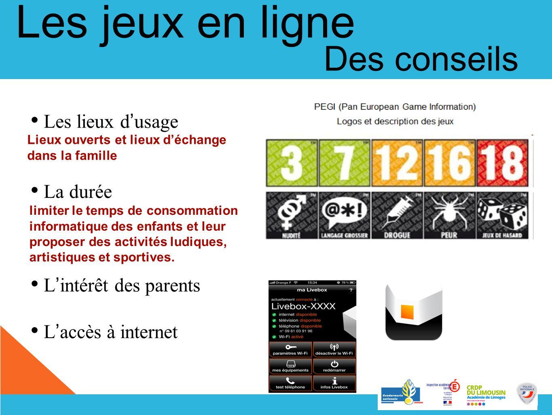 Les lieux d usage La durée L intérêt des parents L accès à internet limiter le temps de consommation informatique des enfants et leur proposer des act