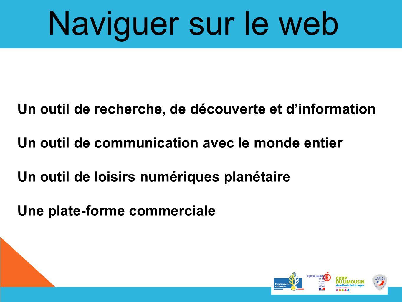 Naviguer sur le web Un outil de recherche, de découverte et dinformation Un outil de communication avec le monde entier Un outil de loisirs numériques